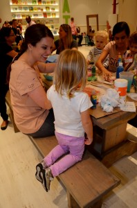 Our stamp craft was a big hit with kids and moms!