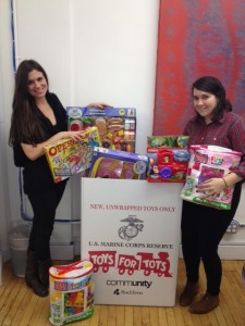 Some sitters with the Toys for Tots donation box at LLD headquarters!